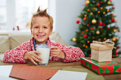 Boy with glass of milk Stock Photo