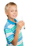 Boy With Glass of Milk Stock Photos