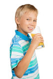 Boy with a Glass of Orange Juice Stock Photo