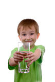 Boy with a glass of water Royalty Free Stock Image
