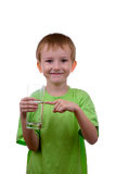 Boy with a glass of water Stock Photos