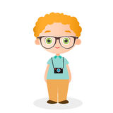 Boy with glasses and camera. Vector illustration eps 10 isolated on white background. Flat cartoon style. Royalty Free Stock Photos