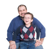 Boy with glasses and dad. Smiling Royalty Free Stock Images