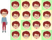 Boy with glasses emotions: joy, surprise, fear, sadness, sorrow, Stock Images