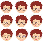 Boy with glasses emotions: joy, surprise, fear, sadness, sorrow, Royalty Free Stock Photos