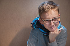 Boy with glasses happy because recovered Royalty Free Stock Images