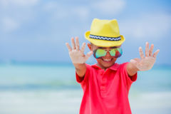 Boy in glasses and hat, sea beach Stock Photography