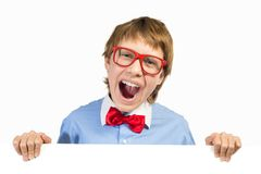 Boy with glasses holding a white placard Stock Images