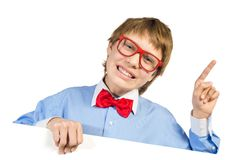 Boy with glasses holding a white placard Stock Photography