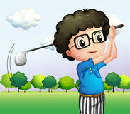 A boy with glasses playing golf. Illustration of a boy with glasses playing golf Stock Photos
