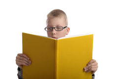 Boy with glasses reading a big yellow book Stock Image