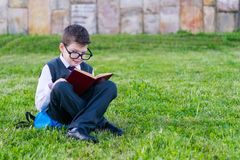 Boy in glasses after school, sitting on lawn reading book, outdoors in park royalty free stock photography
