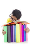 Boy with glasses sleeping with books Royalty Free Stock Images