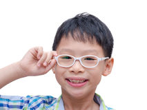 Boy with glasses smiling Royalty Free Stock Image