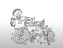 Boy with gleaming bicycle. Illustration of young boy smiling and proud of his gleaming bicycle stock illustration