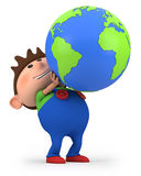 Boy with globe. Cute little cartoon boy holding a globe - high quality 3d illustration Royalty Free Stock Images