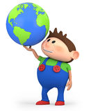 Boy with globe. Cute little cartoon boy holding a globe - high quality 3d illustration Stock Images