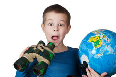 Boy with a globe Royalty Free Stock Photo