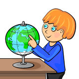Boy with globe Royalty Free Stock Image