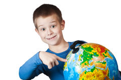 Boy with a globe Royalty Free Stock Images