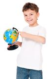 Boy with globe Royalty Free Stock Images