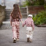 Boy go with his pretty sister for the walk Royalty Free Stock Photography