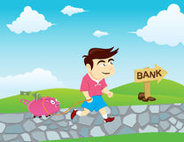 Boy go to Bank. To save money with the pig Vector Illustration