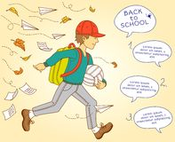 Boy go to school. Vector illustration. Stock Photography