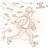 Boy go to school. Vector illustration. Stock Photo