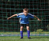 Boy goal keeper. Boy soccer goalkeeper standing in his goal, ready with an intense attention posture for (virtual) approach of an adversary about to shoot the Royalty Free Stock Images
