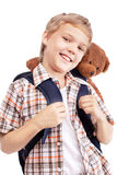 boy goes to school Royalty Free Stock Image