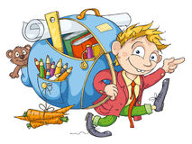 The Boy Goes to School. Cheerful student with a big backpack goes to school Royalty Free Stock Photography