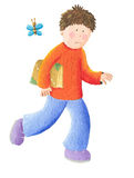 Boy goes to school. Acrylic illustration of boy goes to school Royalty Free Stock Photography