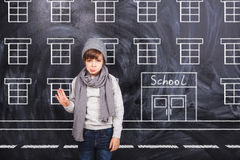 The boy goes to school Royalty Free Stock Photo