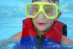 Boy with Goggles On Stock Photo
