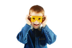 The boy with goggles isolated Royalty Free Stock Image
