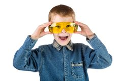The boy with goggles isolated on a white Stock Photo