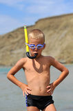 A boy with a goggles and a snorkel Royalty Free Stock Photos