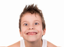 Boy goggles in white shirt Royalty Free Stock Image