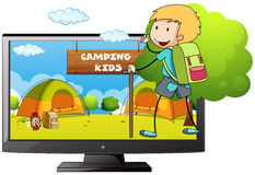 Boy going camping in the field Royalty Free Stock Photography