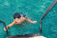 Boy going out of turquois sea water. Little boy going out of turquois sea water after swimming royalty free stock image