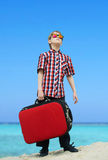 Boy going for sea vacation Stock Image