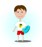 Boy is going swimming with inflatable circle royalty free stock photo