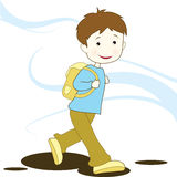 Boy going to school. Cartoon boy with a school bag going to school, to be used for education, school and learning designs Stock Illustration