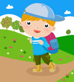 A boy going to school Royalty Free Stock Photos