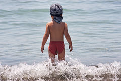 Boy going to sea Stock Photos
