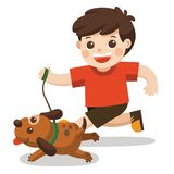 A Boy going to take the dog for a walk. A Boy going to take the dog for a walk in park Stock Image