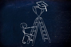Boy going up a ladder to catch a trophy with graduation cap Stock Image