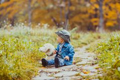 Boy with golden retriever puppy. Happy little boy walking with his golden retriever puppy in the park royalty free stock photo