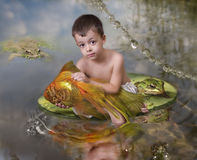 Boy and a goldfish Royalty Free Stock Image